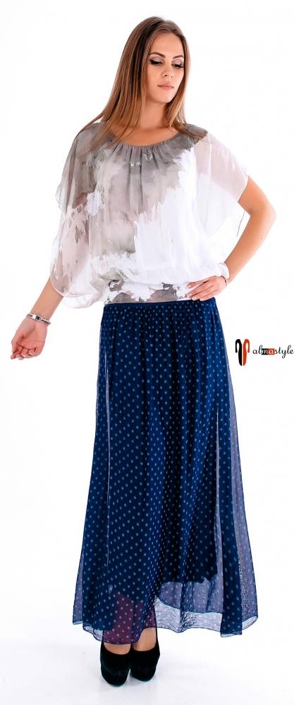 Шелковая блуза на резинке свободного кроя