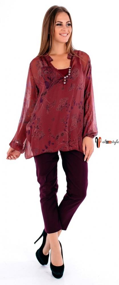 Бордовая рубашка-блузка с цветочным принтом на пуговицах