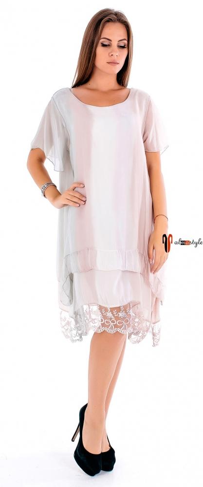 Платье туника, летняя , с вырезом на спине, низ отделка из гипюра