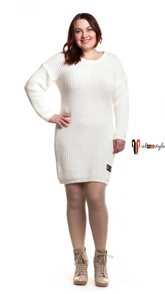 Платье белое, вязанное