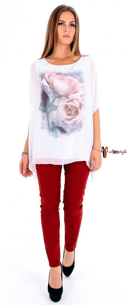 Белая шелковая блуза с цветочным принтом