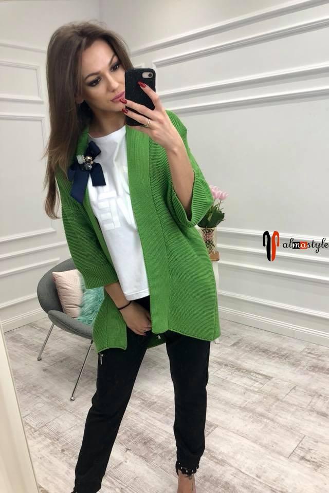 Кардиган тонкий, цветной, короткий, с длинным рукавом, зеленый