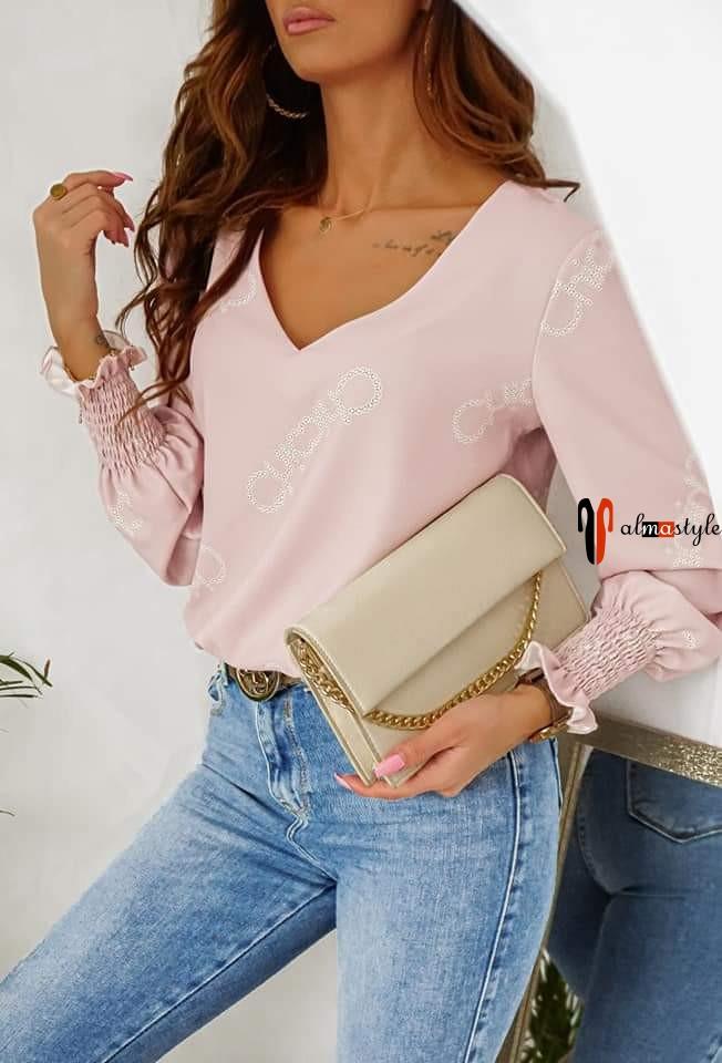 Блузка розовая, пудровая, манжет рукава на резинке