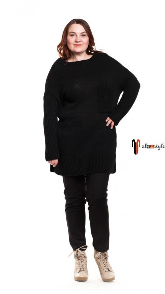 Свитер черный, длинный