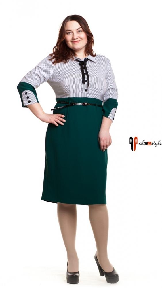 Платье изумрудное, длинный рукав, в полоску