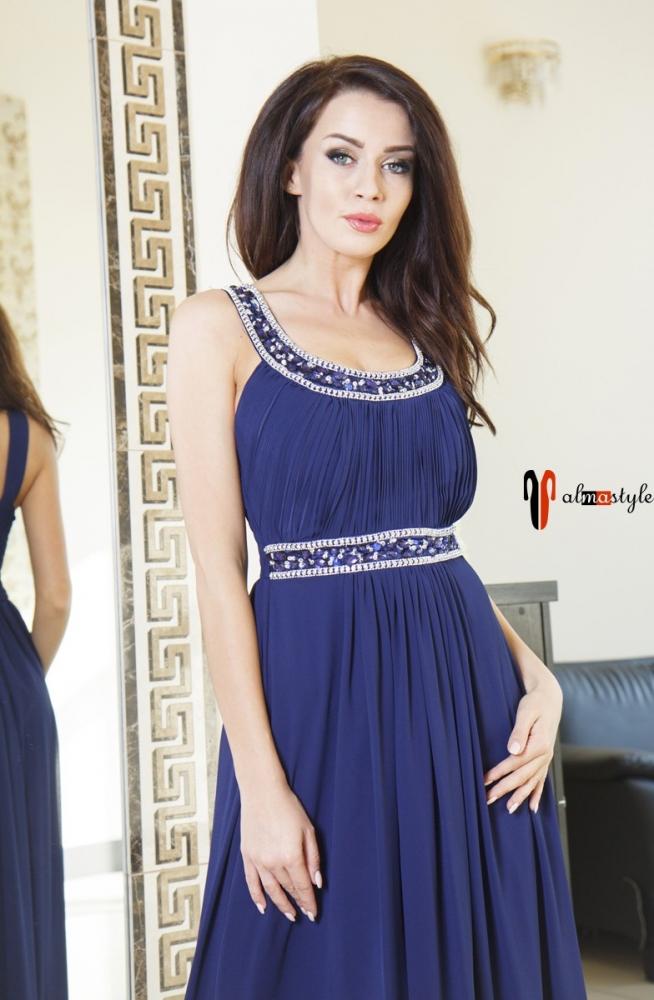 Длинное синее платье в пол