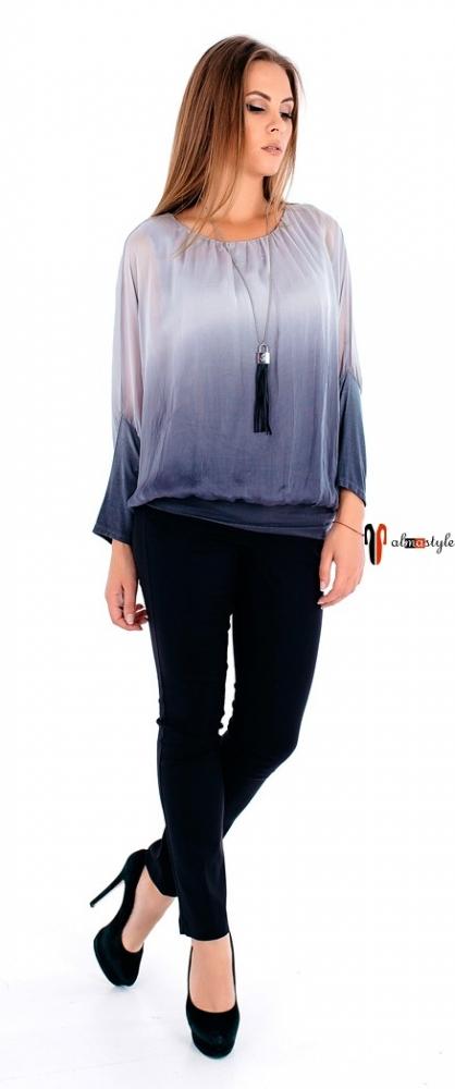 Шелковая блуза на резинке цвета графит с градиентом