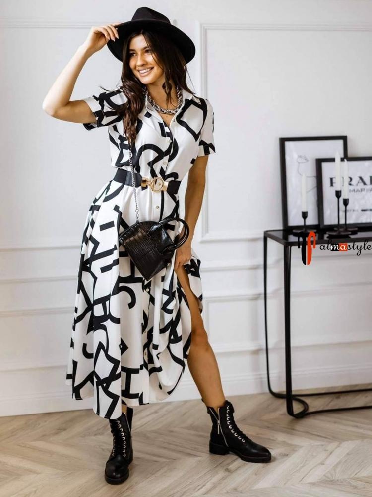 Платье рубашка белое длина миди с графическим принтом