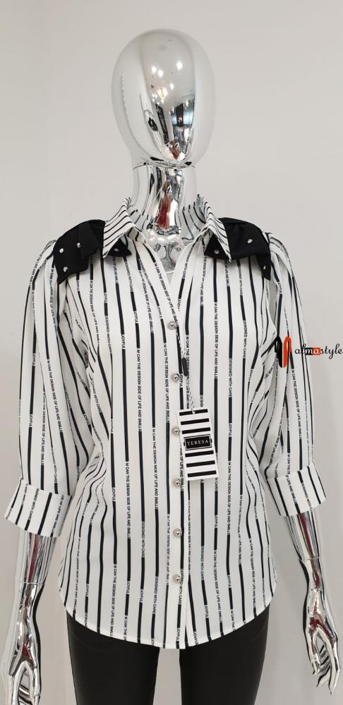 Классическая блуза в полоску белая