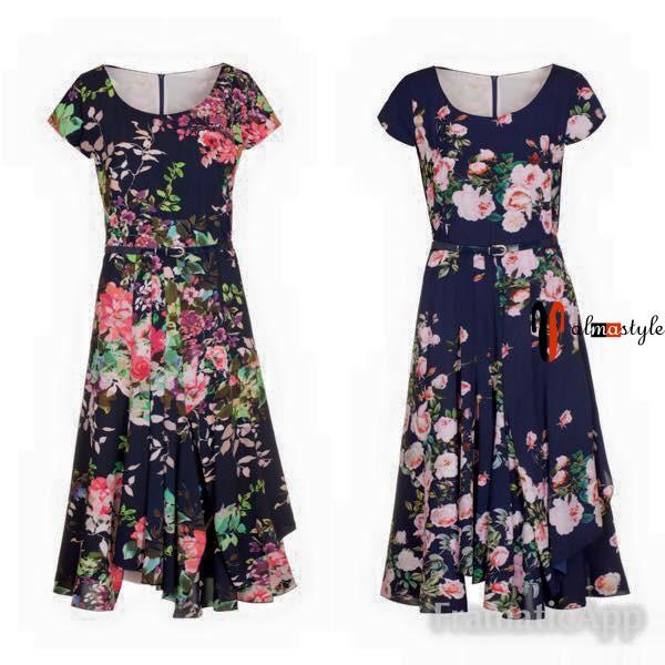 Синее летнее платье с цветочным принтом