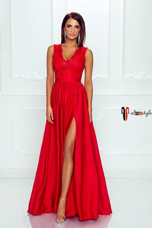 Платье красное, в пол