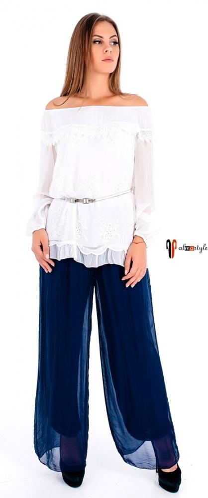 Синие шелковые брюки свободного кроя на трикотажной подкладке