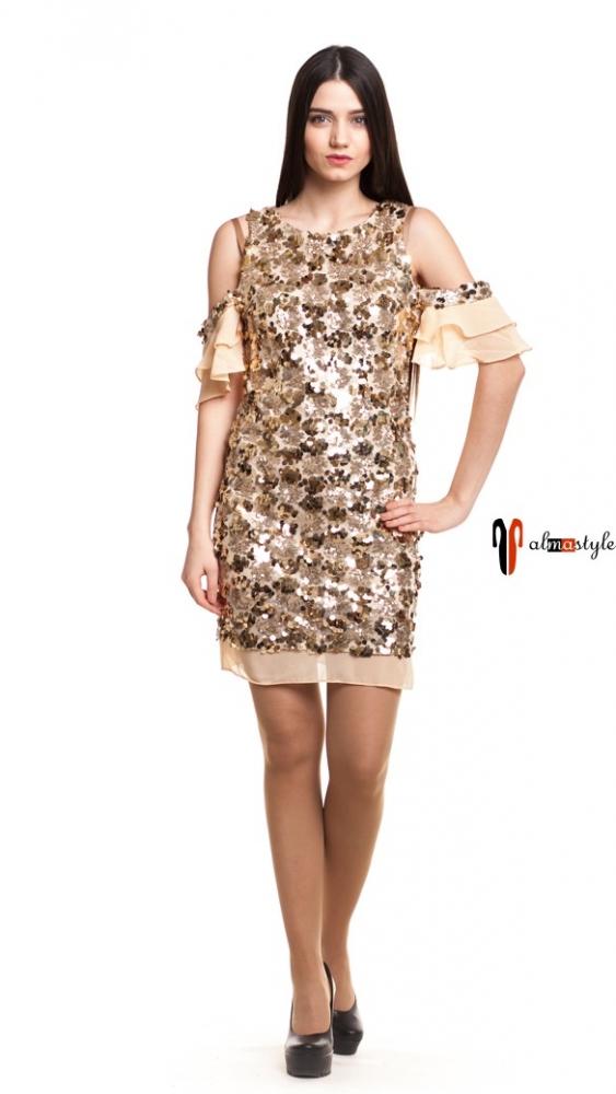 Короткое вечернее платье с пайетками в золоте