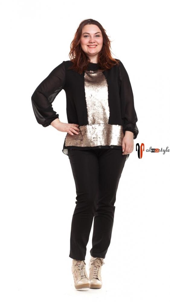 Блуза черная, шифон и пайетки