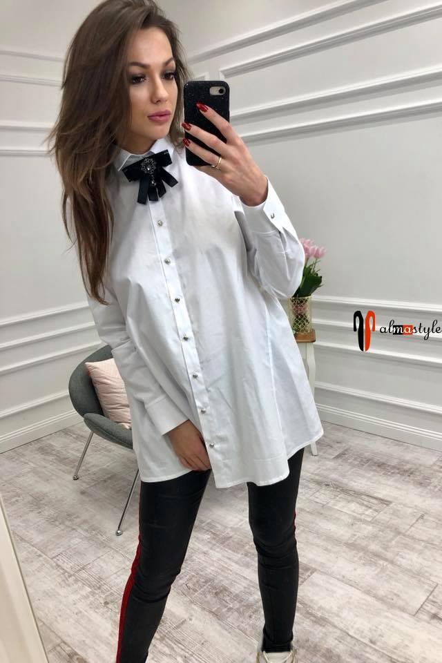 Рубашка белая длинная, оверсайз, с рукавом