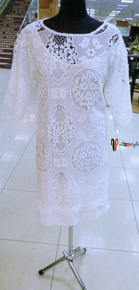 Белое платье, гипюр
