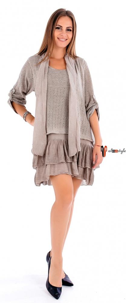 Трикотажное платье-туника с шарфом