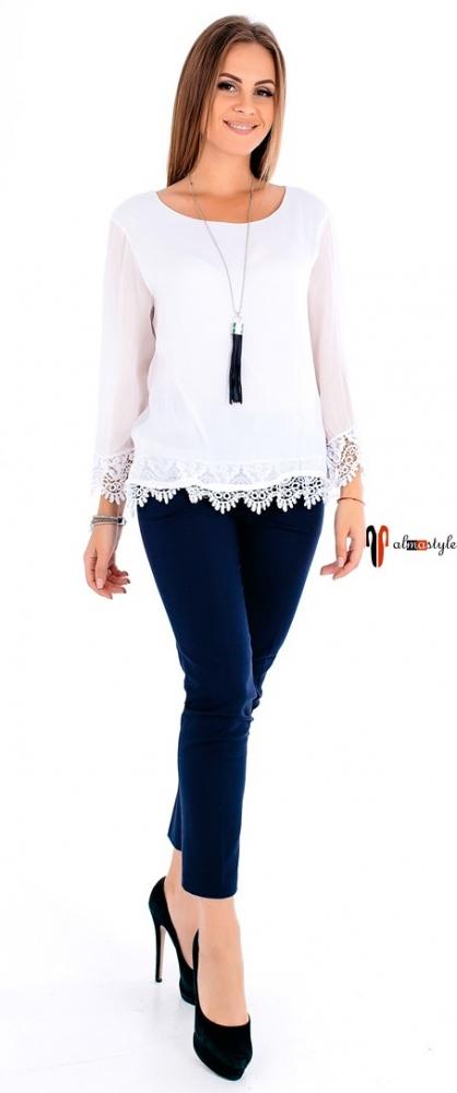 Блуза белая, шелк, гипюр