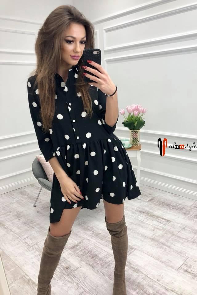 Платье черное, легкое в горох, короткое