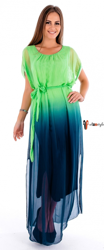Платье в пол двухслойное с разрезами