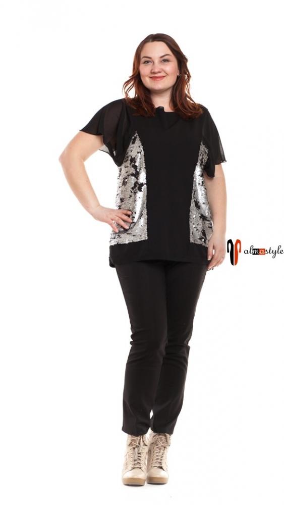 Блуза черная, короткий рукав, серебро пайетки