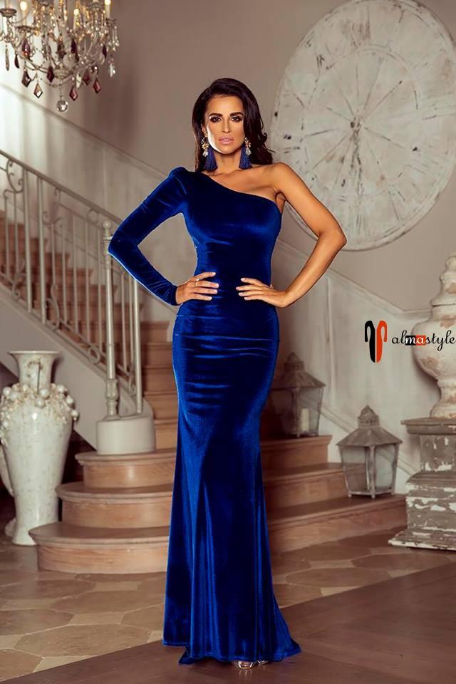 Шикарное платье, на вечер, с рукавом, на одно плечо, синее, велюр