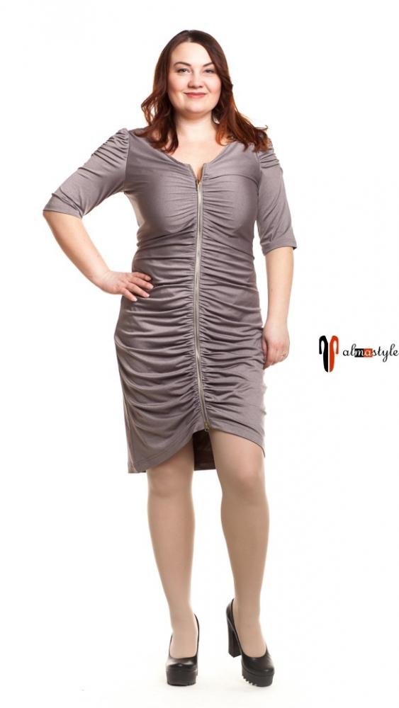 Серое платье на молнии с драпировкой