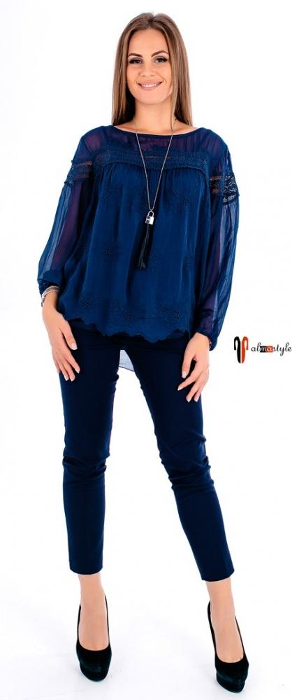 Блуза синяя, нарядная, гипюр, шелк, на подкладе