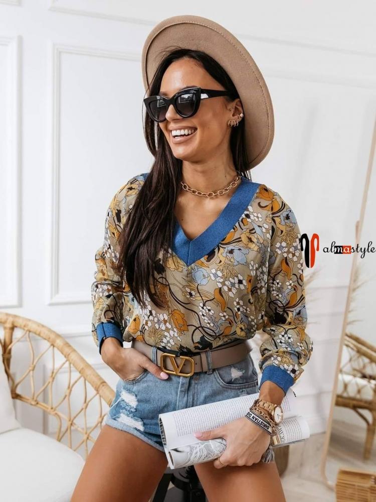 Блуза шифоновая с цветочным принтом и трикотажной отделкой