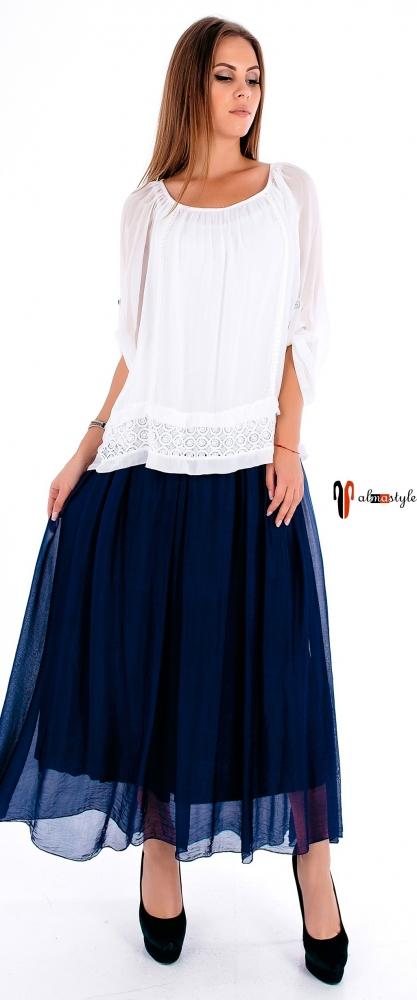 Длинная стильная юбка  клеш синего цвета из шифона на подкладке