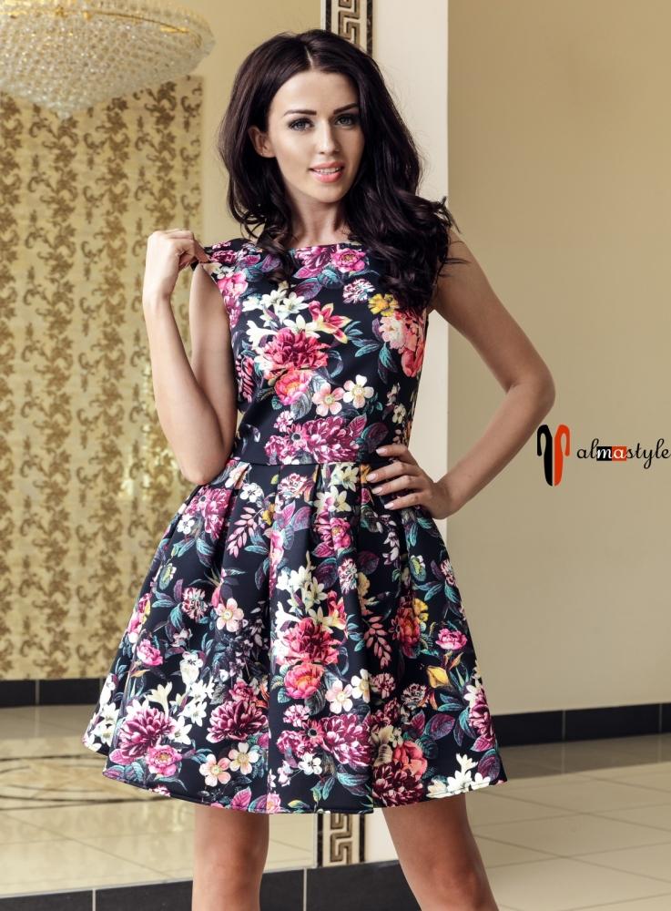 Пышное платье с цветочным принтом