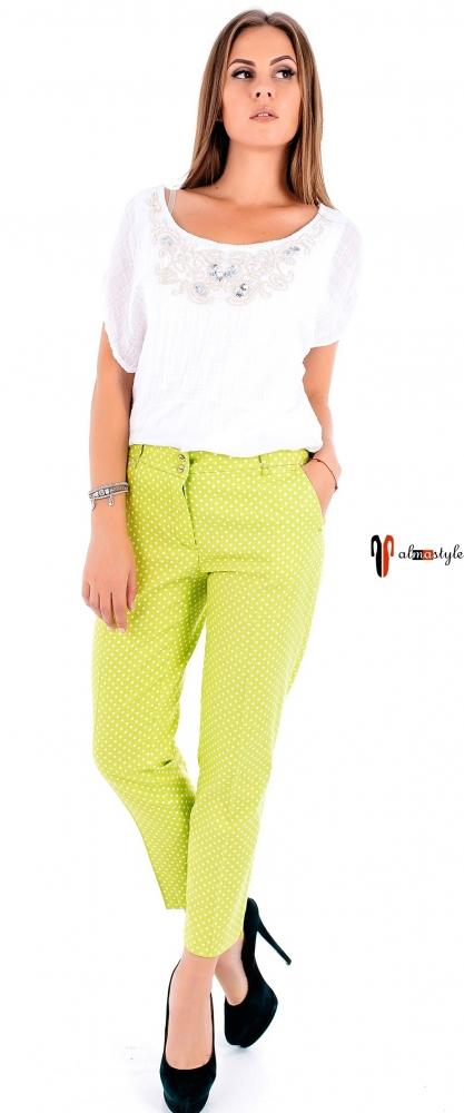 Летние брюки из натуральной ткани в зеленом, бежевом, коралловом и синем оттенках
