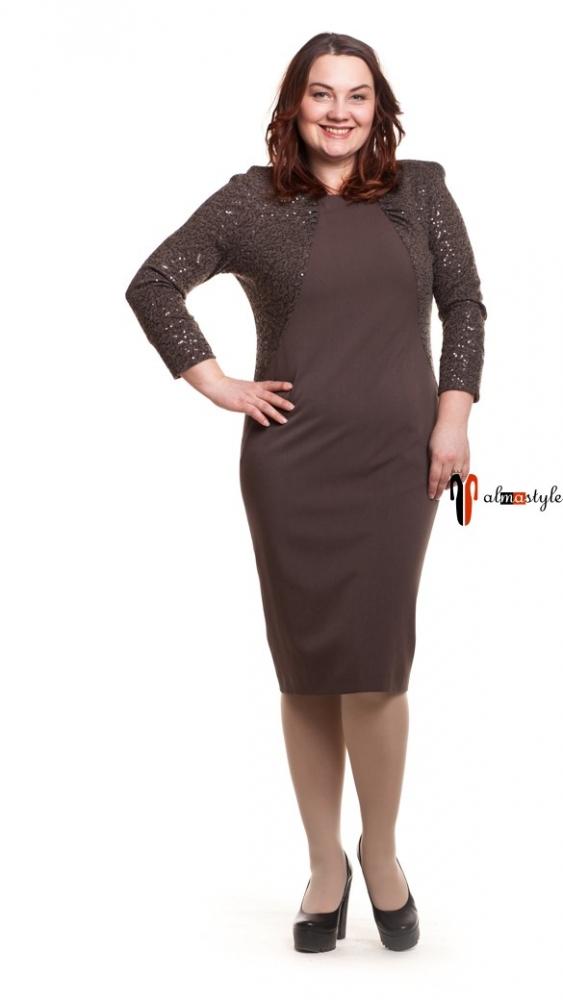 Платье горчичного оттенка с пайетками