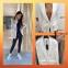 Модный пиджак белого цвета с накладными карманами