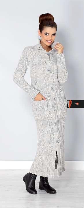 Длинный кардиган-пальто крупной вязки серого цвета