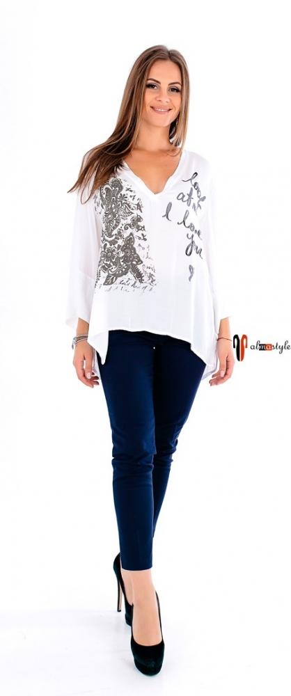 Белая блузка из атласа с асимметрией