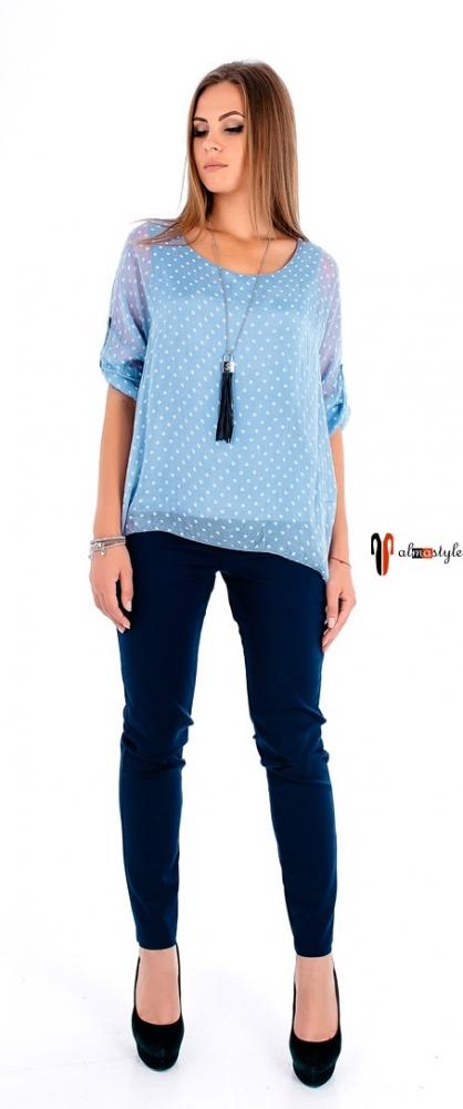 Блузка в горошек, голубая