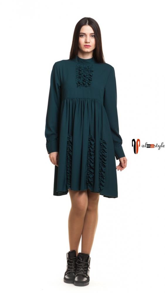 Платье изумрудное, клешь, оборки