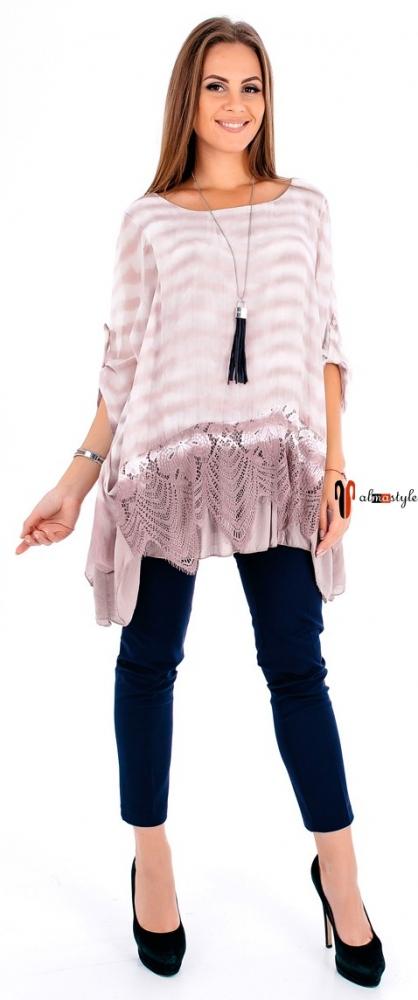 Блуза в полоску, из шелка, отделка гипюром