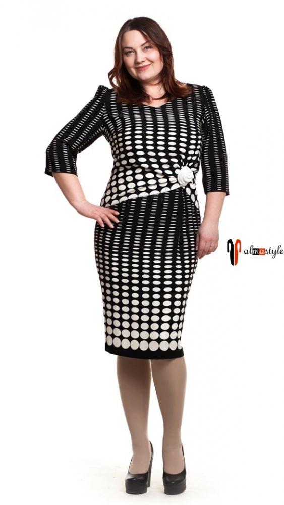 Платье классическое, черно/белое, горох