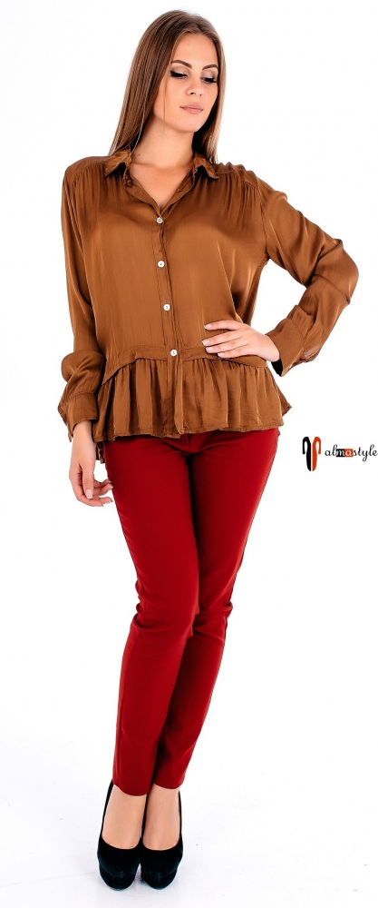 Шелковая блуза кирпичного цвета на пуговицах