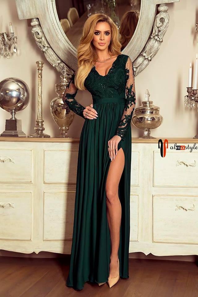 Платье зеленого цвета, макси: с рукавом