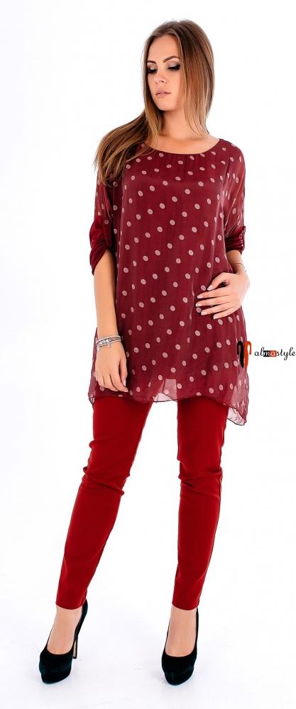 Шелковая блуза-туника в горох с трикотажными рукавами