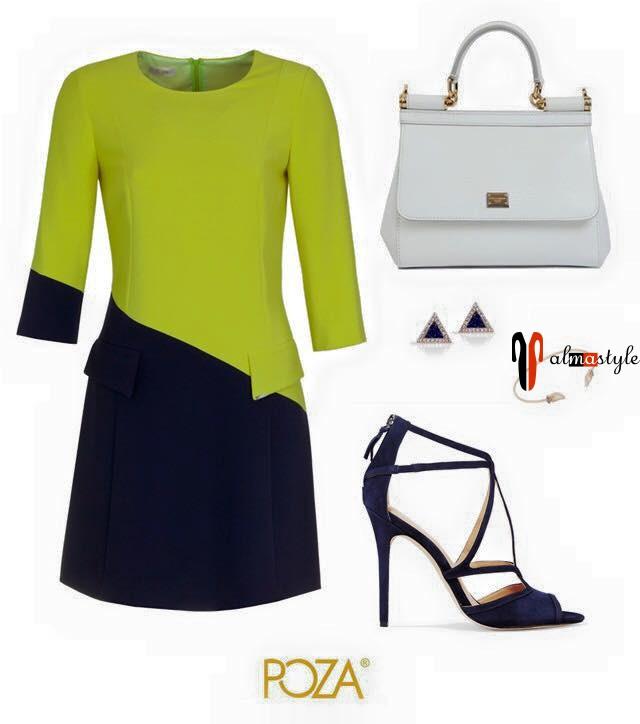 Зеленое платье с рукавом ¾
