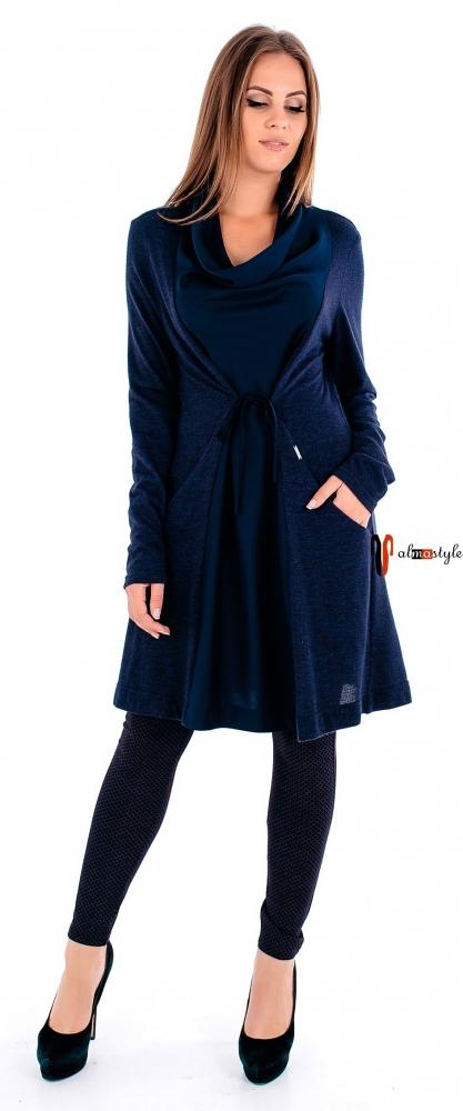 Теплая синяя туника с отделкой шелком