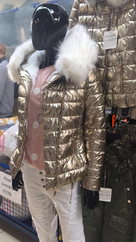 Куртка на меху, теплая, в цветах: в серебре, золоте