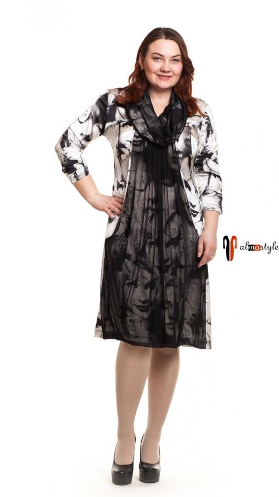 Черно-белое платье из натурального шелка с сеткой