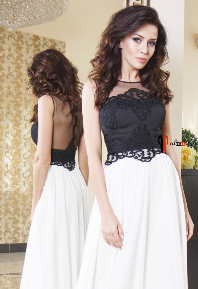 Вечернее платье в пол черно-белого цвета