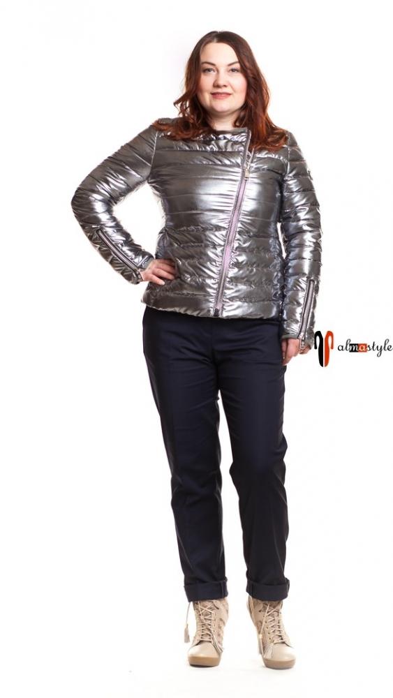 Женская демисезонная куртка-косуха серебряная