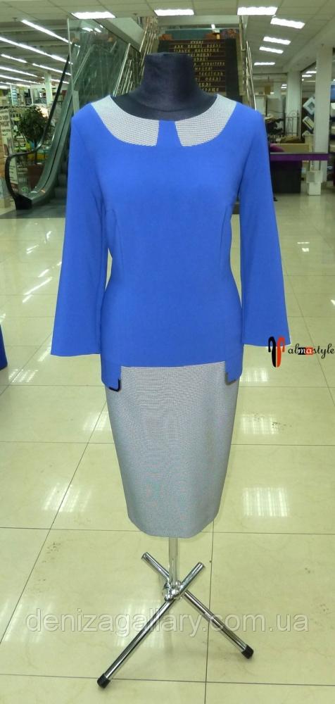 Синее платье с вставками в клетку